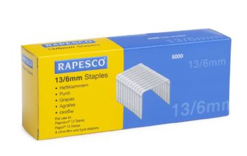 RAPESCO 13/6mm STAPLES - Hard Wire Galvanised Staples (Box 5,000)